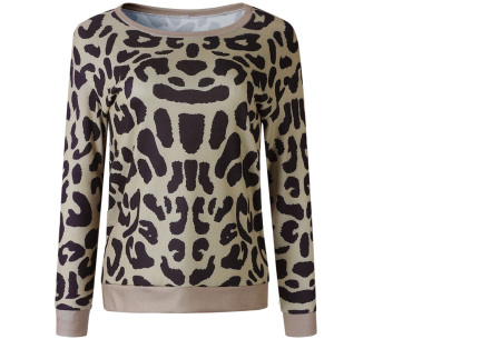 Panterprint sweater | Hippe en trendy dames sweater #2 khaki