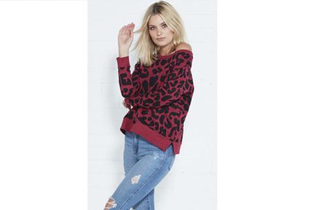 Panterprint sweater   Hippe en trendy dames sweater