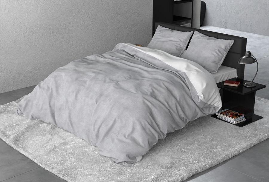 Flanel dekbedovertrek Maat 240 x 200/220 cm - Twin washed - Grey