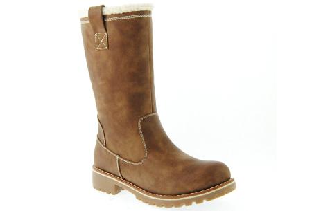 Gevoerde teddy boots | Hippe winterlaarzen met heerlijk warme binnenvoering khaki