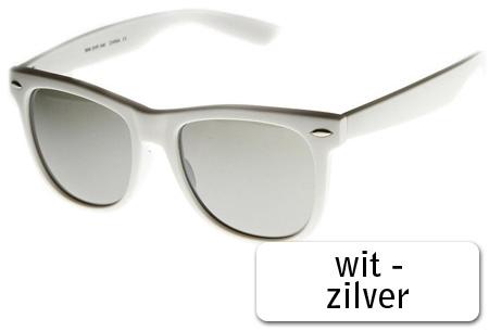 Spiegel Wayfarer zonnebrillen in 12 uitvoeringen   Zwart of wit montuur