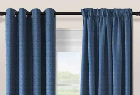 Geweven verduisterende gordijnen | Kant en Klaar, keuze uit verschillende maten en kleuren Donker Blauw
