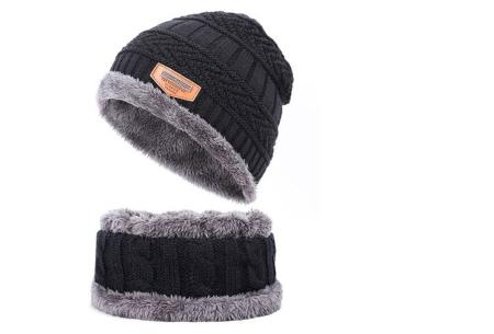 Fleece muts met of zonder bijpassende fleece sjaal | Met warme fleece binnenzijde zwart