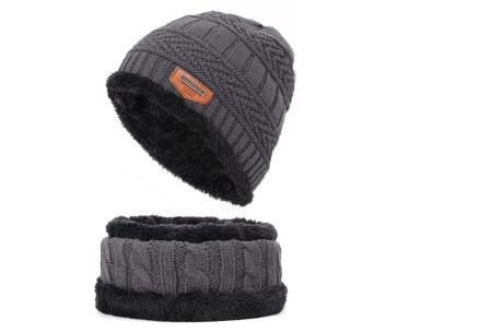 Fleece muts met of zonder bijpassende fleece sjaal | Met warme fleece binnenzijde grijs