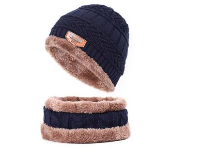 Fleece muts met of zonder bijpassende fleece sjaal | Met warme fleece binnenzijde navy