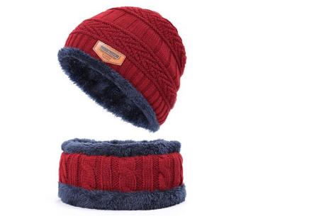 Fleece muts met of zonder bijpassende fleece sjaal | Met warme fleece binnenzijde wijnrood