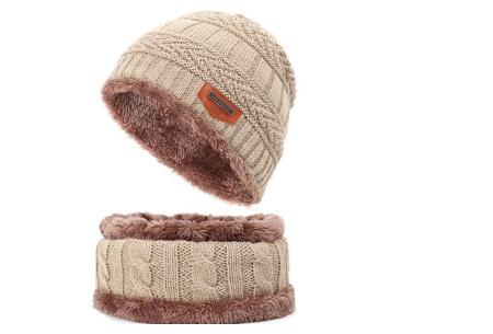 Fleece muts met of zonder bijpassende fleece sjaal | Met warme fleece binnenzijde khaki