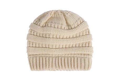 High ponytail muts | Dé musthave winter accessoire voor dames met lang haar Beige