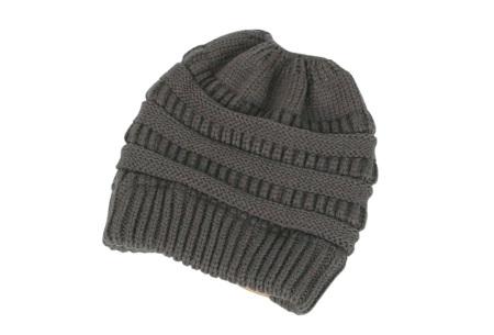 High ponytail muts | Dé musthave winter accessoire voor dames met lang haar Donkergrijs