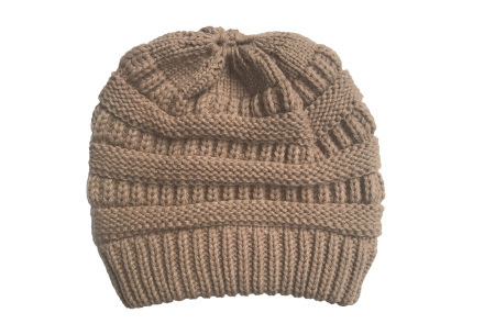 High ponytail muts | Dé musthave winter accessoire voor dames met lang haar Khaki