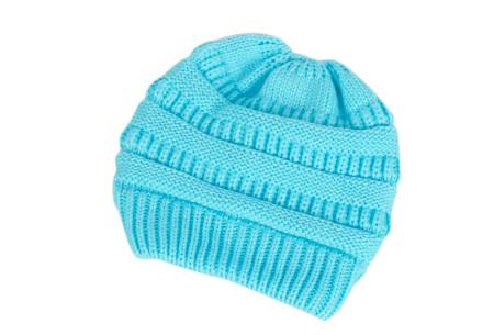 High ponytail muts | Dé musthave winter accessoire voor dames met lang haar Lichtblauw