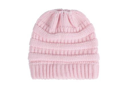 High ponytail muts | Dé musthave winter accessoire voor dames met lang haar Lichtroze