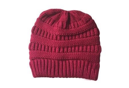 High ponytail muts | Dé musthave winter accessoire voor dames met lang haar Wijnrood