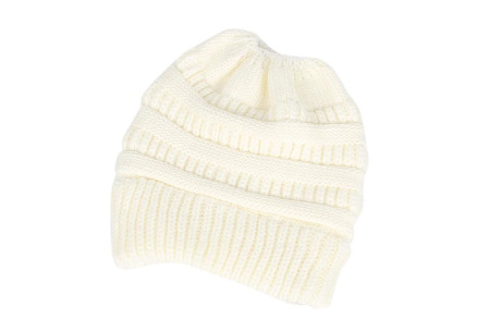 High ponytail muts | Dé musthave winter accessoire voor dames met lang haar Wit