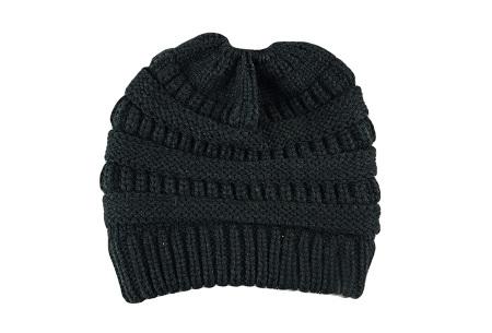 High ponytail muts | Dé musthave winter accessoire voor dames met lang haar Zwart