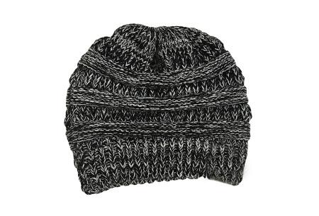 High ponytail muts | Dé musthave winter accessoire voor dames met lang haar Zwart/wit