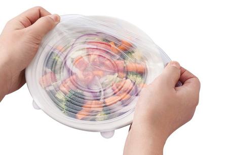 Universele siliconen vershouddeksels - set van 6 stuks | Herbruikbaar en houden jouw etenswaar vers