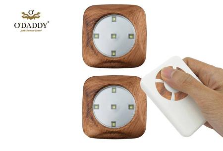 O'Daddy draadloze LED spots | Verlichting op moeilijk bereikbare plekken 3-delig - houtlook