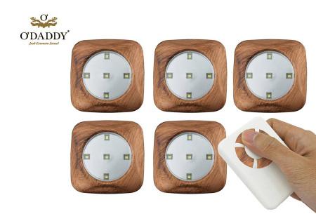 O'Daddy draadloze LED spots | Verlichting op moeilijk bereikbare plekken 6-delig - houtlook