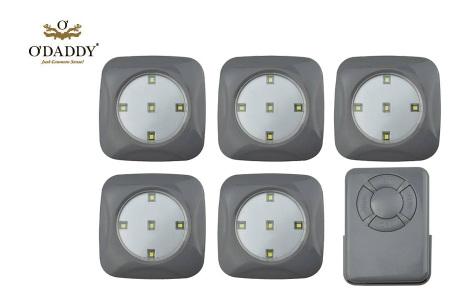 O'Daddy draadloze LED spots | Verlichting op moeilijk bereikbare plekken 6-delig - grijs