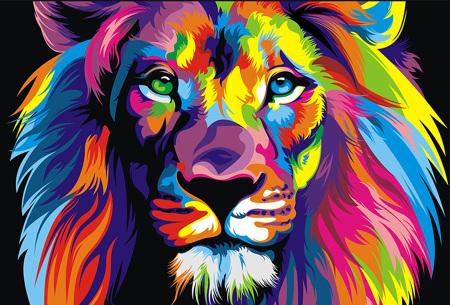 Diamond painting arty editie | Keuze uit 7 uitvoeringen in 3 formaten #4 leeuw