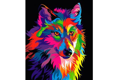 Diamond painting arty editie | Keuze uit 7 uitvoeringen in 3 formaten #6 wolf