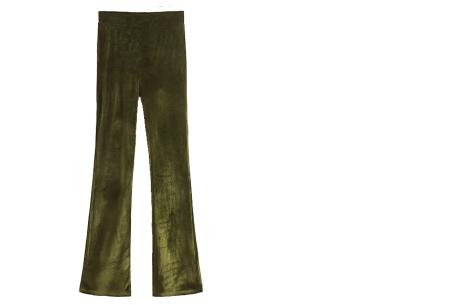 Flared velvet broek | Stijlvol, vrouwelijk & helemaal on trend Olijfgroen