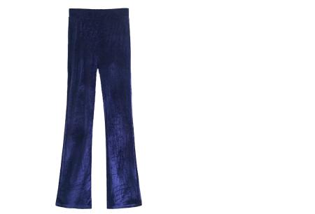 Flared velvet broek | Stijlvol, vrouwelijk & helemaal on trend Navy blauw