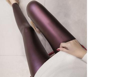 Metallic legging | Hippe en stijlvolle leather look legging in 2 modellen #1 wijnrood
