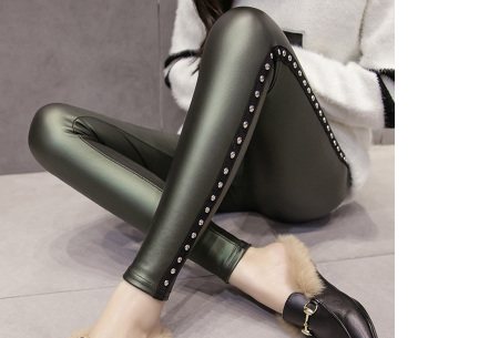 Metallic legging | Hippe en stijlvolle leather look legging in 2 modellen #2 legergroen