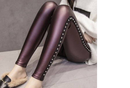 Metallic legging | Hippe en stijlvolle leather look legging in 2 modellen #2 wijnrood