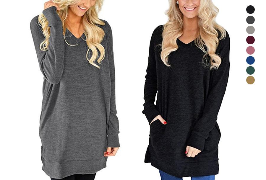 Dagaanbieding - 54% korting - V-neck sweater dress dagelijkse koopjes