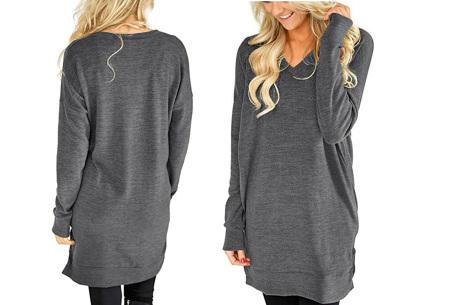 V-neck sweater dress | Verkrijgbaar in 8 kleuren  donkergrijs