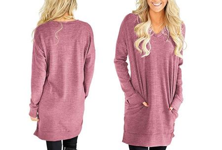 V-neck sweater dress | Verkrijgbaar in 8 kleuren  framboos