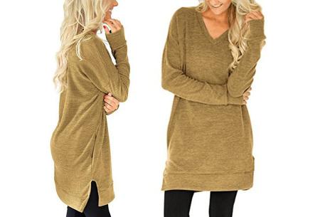 V-neck sweater dress | Verkrijgbaar in 8 kleuren  khaki