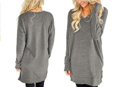 V-neck sweater dress | Verkrijgbaar in 8 kleuren  lichtgrijs