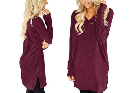 V-neck sweater dress | Verkrijgbaar in 8 kleuren  wijnrood