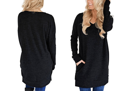 V-neck sweater dress | Verkrijgbaar in 8 kleuren  zwart
