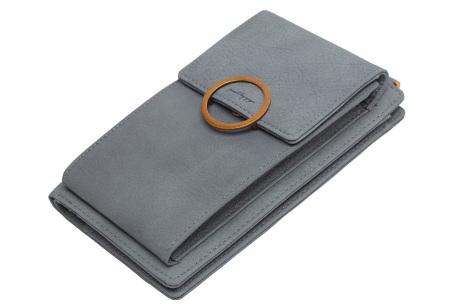 Portemonnee tasje | Met vele handige vakjes en ruimte voor je smartphone grijs