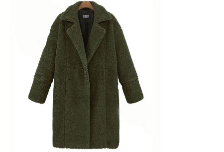 Teddy jas | Lange zachte teddy coat, musthave!  Legergroen