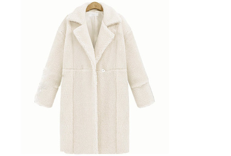 Teddy jas | Lange zachte teddy coat, musthave!  Wit