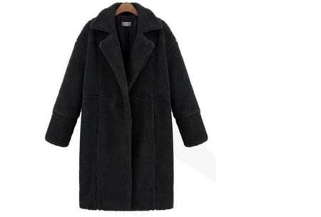 Teddy jas | Lange zachte teddy coat, musthave!  Zwart