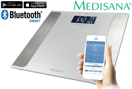 Medisana lichaamsanalyse weegschaal met Bluetooth & app | Meet o.a. lichaamsvet & spiermassa