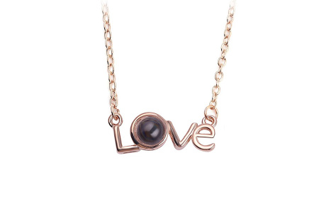 I love you ketting | De tekst 'I love you' in 100 verschillende talen geprojecteerd #3 roségoudkleurig