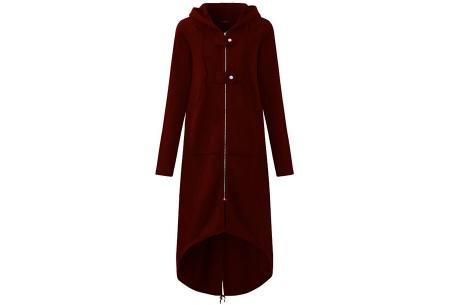 Oversized hoodie vest | Super comfy dames vest wijnrood