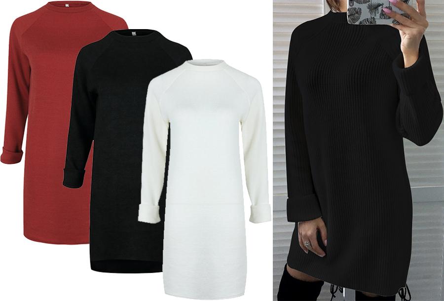 54% korting - Rib sweater dress
