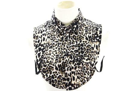 Denim & panterprint blouse kraagjes  | Losse kraagjes voor onder je outfit #6