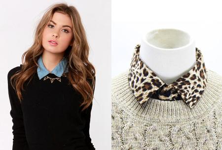 Denim & panterprint blouse kraagjes  | Losse kraagjes voor onder je outfit