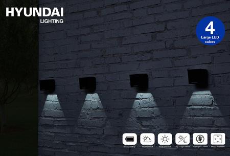 Hyundai LED solar cube tuinverlichting | Moderne kubusvormige buitenlampen op zonne-energie