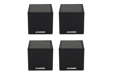 Hyundai LED solar cube tuinverlichting | Moderne kubusvormige buitenlampen op zonne-energie 4-pack L